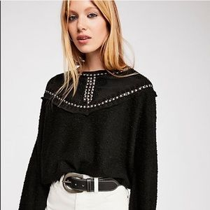 Free People Embellished Black Sweatshirt
